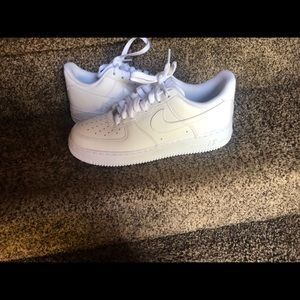 Men's 7.5 all white NIKE air force ones.